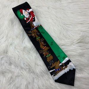Hallmark Silk Santa Claus & Reindeer Holiday Tie